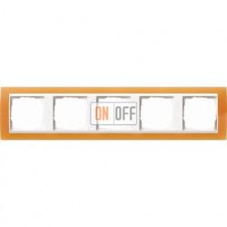 Рамка пятерная Gira Event Opaque  матово-оранжевый/бел. Глянец 0215397
