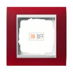 Рамка одинарная Gira Event Opaque матово-красный/глянц.белый 0211398
