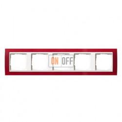 Рамка пятерная Gira Event Opaque матово-красный/глянц.белый 0215398