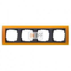 Рамка четверная Gira Event Opaque матово-янтарный/антрацит 021414