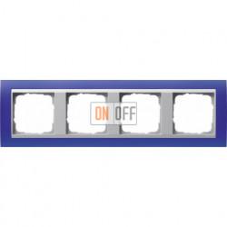 Рамка четверная Gira Event Opaque матово-синий/алюминий 021493