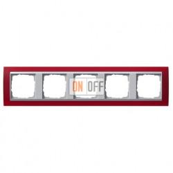 Рамка пятерная Gira Event Opaque матово-красный/алюминий 021592