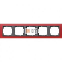 Рамка пятерная Gira Event Opaque матово-красный/антрацит 021588
