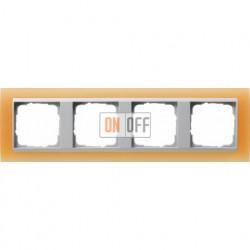 Рамка четверная Gira Event Opaque матово-оранжевый/алюминий 021453