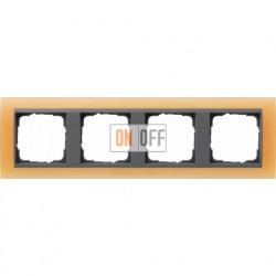 Рамка четверная Gira Event Opaque матово-оранжевый/антрацит 021487