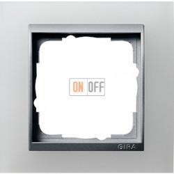 Рамка одинарная Gira Event Opaque матово-белый/алюминий 021150