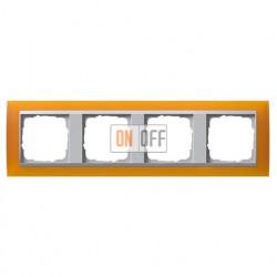 Рамка четверная Gira Event Opaque матово-янтарный/алюминий 021469
