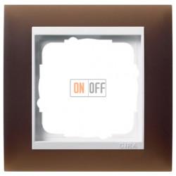 Рамка одинарная Gira Event Opaque матово-коричневый/бел. Глянец 0211331