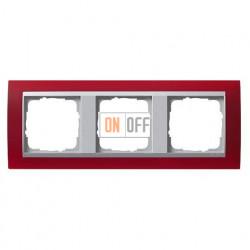 Рамка тройная Gira Event Opaque матово-красный/алюминий 021392