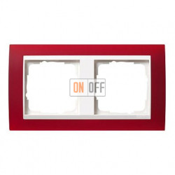 Рамка двойная Gira Event Opaque матово-красный/глянц.белый 0212398