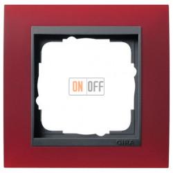 Рамка одинарная Gira Event Opaque матово-красный/антрацит 021188