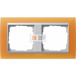Рамка двойная Gira Event Opaque матово-оранжевый/алюминий 021253