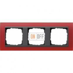Рамка тройная Gira Event Opaque матово-красный/антрацит 021388