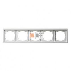 Рамка пятерная, для гориз./вертик. монтажа Gira F100 белый глянцевый 0215112
