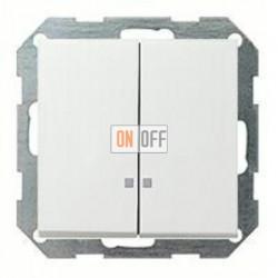 Выключатель двухклавишный с подсветкой, 10 А / 250 В~ 014500 - 0631112