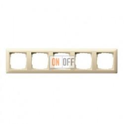 Рамка пятерная, для гориз./вертик. монтажа Gira Standart 55 кремовый глянцевый 021501