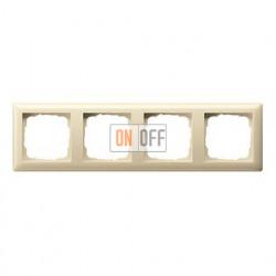 Рамка четверная, для гориз./вертик. монтажа Gira Standart 55 кремовый глянцевый 021401