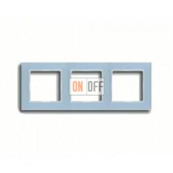 Рамка тройная, для горизон./вертик. монтажа Jung A Creation, стекло серо-голубое AC583GLBLGR