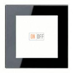 Рамка одинарная Jung A Creation, черное стекло AC581GLSW