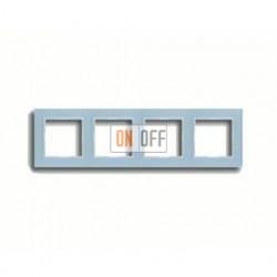 Рамка четверная, для горизон./вертик. монтажа Jung A Creation, стекло серо-голубое AC584GLBLGR