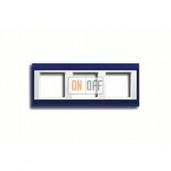 Рамка тройная, для горизон./вертик. монтажа Jung A Plus, синий-белый AP583BLWW