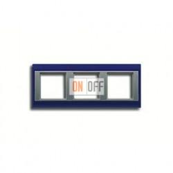 Рамка тройная, для горизон./вертик. монтажа Jung A Plus, синий-алюминий AP583BLAL