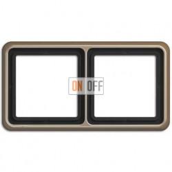 Рамка двойная, горизонтальная/вертикальная, Jung CD 500, светлая бронза CD582GB