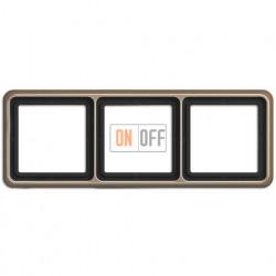 Рамка тройная, горизонтальная/вертикальная, Jung CD 500, светлая бронза CD583GB
