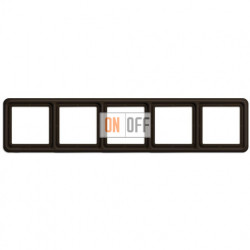 Рамка пятерная, горизонтальная/вертикальная, Jung CD 500, коричневый CD585BR