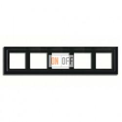 Рамка пятерная, для горизон./вертик. монтажа Jung LS-design, черный глянцевый LSD985SW