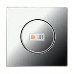 Светорегулятор JUNG универсальный поворотно-нажимной LED 3-100Вт., 20-420Вт ламп накал. и галог., блестящий хром  1731DD - GCR1940