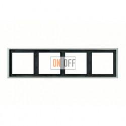 Рамка четверная, для горизон./вертик. монтажа Jung LS 990, алюминий al2984