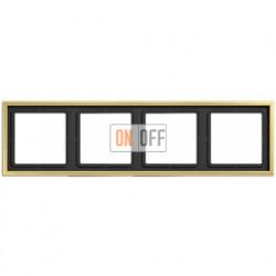 Рамка на 4 поста, горизонтальная/вертикальная, Jung LS 990, латунь классик ME2984C