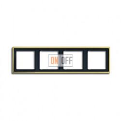 Рамка четверная, для горизон./вертик. монтажа Jung LS 990, золото go2984