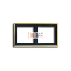 Рамка двойная, для горизон./вертик. монтажа Jung LS 990, золото go2982