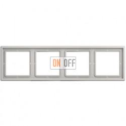 Рамка на 4 поста, горизонтальная/вертикальная,Jung LS 990, светло-серый LS984LG