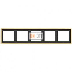 Рамка на 5 постов, горизонтальная/вертикальная, Jung LS 990, латунь классик ME2985C
