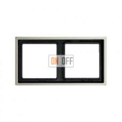 Рамка двойная, для горизон./вертик. монтажа Jung LS 990, нержавеющая сталь es2982