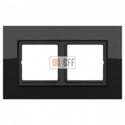 Рамка двойная LS Plus черное стекло LSP982GLSW