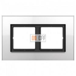 Рамка двойная LS Plus стекло белое LSP982GLWW