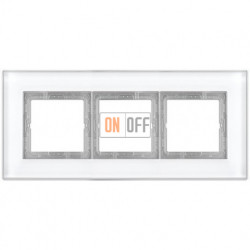 Рамка тройная LS Plus стекло белое LSP983GLWW