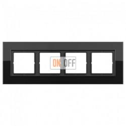 Рамка четверная LS Plus черное стекло LSP984GLSW