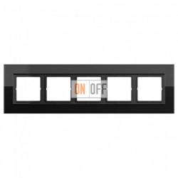 Рамка пятерная LS Plus черное стекло LSP985GLSW