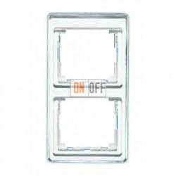 Рамка двойная, для вертикального монтажа Jung SL 500, стекло серебро sl582si