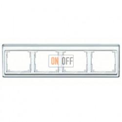 Рамка четверная, для горизонтального монтажа Jung SL 500, стекло серебро sl5840si
