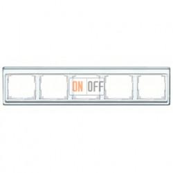 Рамка пятерная, для горизонтального монтажа Jung SL 500, стекло серебро sl5850si
