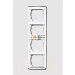 Рамка четверная, для вертикального монтажа Jung SL 500, белое стекло sl584ww
