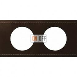 Рамка двухместная Legrand Celiane кожа (коричневая) 69402
