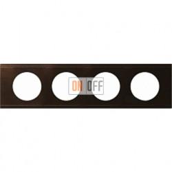 Рамка четырехместная Legrand Celiane кожа (коричневая) 69404