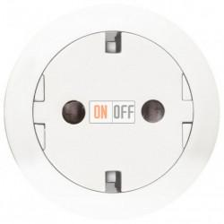 Розетка с заземлением с плоской лицевой панелью , безвинтовой зажим (белый) 67166 - 80251